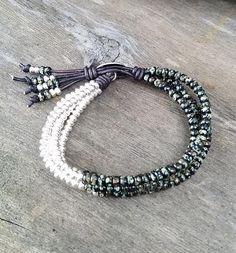 WICKELARMBAND LEDERARMBAND Damen Beads Nieten Glitzer Elements Leder Strass