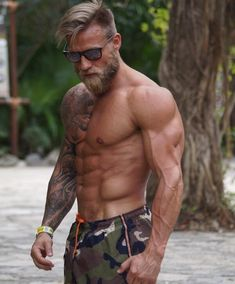 "Over images of beautiful bearded men; To learn more about the man in a post, click where it says ""source. Undercut Men, Undercut Hairstyles, Tatoo Biceps, Awesome Beards, Older Men, Male Physique, Hair And Beard Styles, Muscle Men, Male Body"