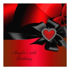50th Birthday Party Red Silver Abstract Black Personalized Announcement