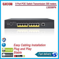 LS6308PN 9 ports  long range  POE Switch with 8 POE ports , 300 meters Power to ip camera ,wirelless ap,ip phone, 1U