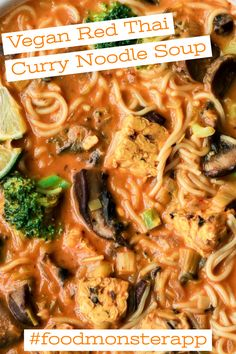 Red Thai Curry Noodle Soup [Vegan] Check out this awesome vegan, plant-based, simple recipe on the Food Monster App! And don't forget to pin to your favorite board! Pasta Recipes Indian, Vegan Indian Recipes, Salmon Recipes, Vegetarian Recipes, Appetizer Recipes, Dinner Recipes, Appetizers, Easy Healthy Recipes, Easy Meals