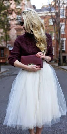 White tulle skirt with burgundy sweater.
