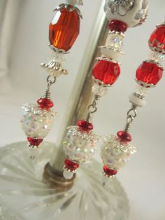 Candy Cane Christmas Bead Dangle Ornament Set by LaReineDesCharmes, $18.00