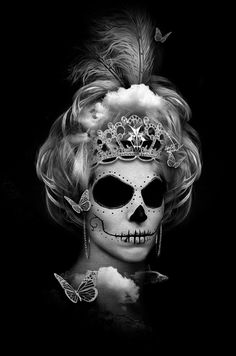 FANTASMAGORIK® BLACK QUEEN by obery nicolas, via Behance Royal Crowns, Tiaras And Crowns, Mexican Skulls, Mexican Folk Art, Mexico Day Of The Dead, Skull Face, Crown Hairstyles, Vanitas, Grim Reaper