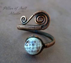 Wire jewelry / wire wrapped jewelry handmade / brown and white agate gemstone / Wire Wrapped Ring / copper jewelry / boho jewelry / rustic on Etsy, $23.00