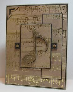 note idea: Quill the note, the inner black overlay box edges and the buttons, for a fab card! Birthday Cards For Him, Masculine Birthday Cards, Masculine Cards, Musical Cards, Stampin Up Karten, Beautiful Handmade Cards, Greeting Cards Handmade, Diy Cards, Scrapbook Cards
