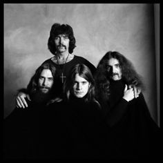 Iconic photo of rock band, bad boys, Black Sabbath, 1973. ( Guitarist Tony Iommi, bassist Geezer Butler, singer Ozzy Osbourne, and drummer Bill Ward.)  Photographed by Brian Duffy.