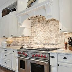 This #brick #backsplash is one of my #favorites! The backsplash is real brick and the contractor spread the #grout over the brick and then sealed it. This gives the brick a #whitewashed look. Beautiful, right? By CR Home Design (Construction Resources). #kitchen #kitchens #farmhouse #FarmhouseKitchen #farmhouseinspo #farmhousegoals #goals #inspo #interiors #beforeandafter #interiorblogs #blogs #interiordesign #homes #onetofollow #iginteriors