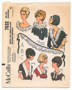 vintage 7632 McCalls COLLARS, BOWS, Dickeys & CUffs sewing pattern (UNCUT) (60s)