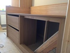 working on cabin bed with bulkhead in view Bulkhead Bedroom, Stairs Bulkhead, Box Room Beds, Box Room Bedroom Ideas, Kids Bedroom, Stair Box In Bedroom, Bed Stairs, Interior Paint Colors For Living Room, Home Bedroom Design