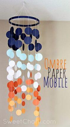Joli dégradé de couleurs pour ce mobile en papier