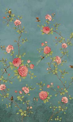 Powder Room Wallpaper | Blooming Chinoiserie Wallpaper Mural M9821 – Walls Republic US
