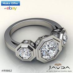 Round Diamond Bezel Set 3 Stone Engagement Ring GIA G SI1 14k White Gold 1.84 ct