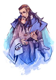 Gil-galad/Elrond by JaneDoemmmmm.deviantart.com on @deviantART. Awww! It makes sense that Gil-galad would be like a father figure to Elrond. :')