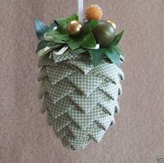 #Handmade #Ribbon #Fabric #Pinecone #Ornaments $7