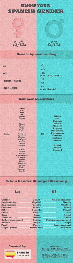 Muchas palabras parecen son masculino/femenino pero realmente lo contrario. Este cuadro ayuda a enseñar algunas de las palabras comúnmente confusas.