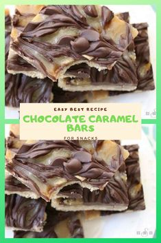 Easy Best Chocolate Caramel Bars For Snacks Chocolate Caramel Bars made with only 4 basic fixings! Best Chocolate, Homemade Chocolate, Chocolate Recipes, Chocolate Snacks, Chocolate Desserts, Cookie Recipes, Snack Recipes, Dessert Recipes, Dessert Ideas