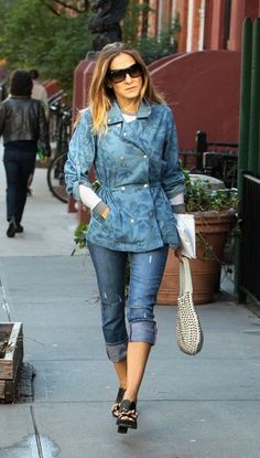 Sarah Jessica Parker Denim Jacket - Sarah Jessica stepped out in this longer, fitted denim jacket with floral print designs.