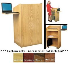 Oklahoma Sound 600 Floor Lectern Presentation Cart With Side Mounted Slide Out Shelf