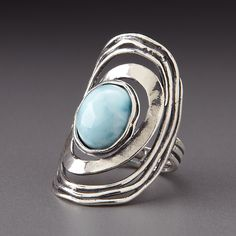 Shablool Sterling Silver Larimar Ring by Lenox