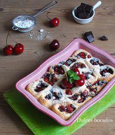 Chocolate sweet cherry bread rolls - Rollitos de chocolate y cerezas