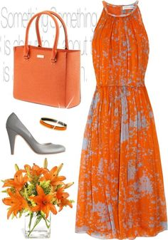 A fashion look from March 2011 featuring Jonathan Saunders dresses, Common Projects pumps and Hermès bracelets. Browse and shop related looks. Komplette Outfits, Fashion Outfits, Womens Fashion, Orange Outfits, Elegantes Outfit, Mode Inspiration, Mode Style, Look Fashion, Paris Fashion
