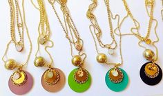 Different matt enamels for Planet 3 rounds necklace. Enamels, Woman Fashion, Blue Brown, Different Colors, Washer Necklace, Swarovski, Turquoise, Beige, Jewels