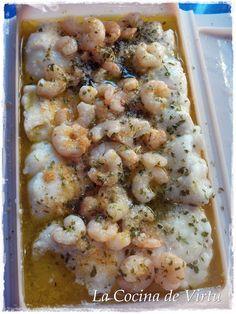 La cocina de Virtu: Lomos Merluza con Gambas en el microondas/con receta.