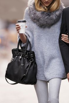 Gray woolen sweater with leather handbag | Gloss Fashionista