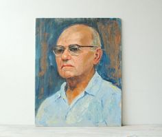 Vintage Portrait Painting of a Man by LittleDogVintage on Etsy