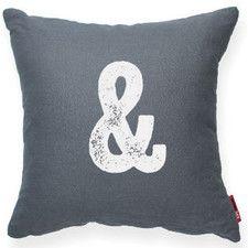 """Alphabet """"Ampersand"""" Decorative Linen Throw Pillow"""