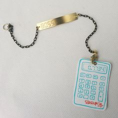 Show 'em who's boss! Engraved Retro-Inspired Calculator Bracelets from Slashpile Designs Calculator Words, Math Class, Geek Chic, Black Enamel, Boss, Pendant Necklace, Chain, Inspired, Retro