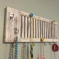 DIY Window Shutter Jewelery Organizer