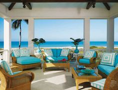 House of Turquoise: patio Caribbean Decor, Caribbean Homes, Tropical Outdoor Furniture, Outdoor Furniture Sets, Wicker Furniture, Wicker Chairs, Furniture Ideas, House Of Turquoise, Outdoor Rooms