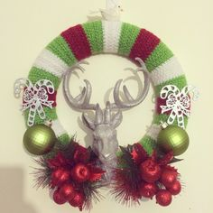 Crochet and Christmas decoration wreath