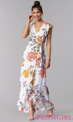 Image of maxi-length faux-wrap floral-print casual dress. Simple Dresses, Elegant Dresses, Pretty Dresses, Summer Dresses, Formal Dresses, Sexy Dresses, Wedding Dresses, Bridesmaid Dresses, Summer Maxi
