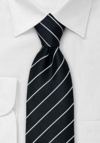 Black Necktie with Narrow Light-Silver Stripes