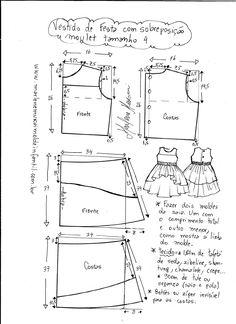 "Vestido manga copinho decote ""V"" nas costas - DIY- marlene mukai - molde infanti. Baby Girl Dress Patterns, Baby Clothes Patterns, Sewing Patterns For Kids, Dress Sewing Patterns, Sewing For Kids, Baby Sewing, Baby Patterns, Fashion Sewing, Kids Fashion"