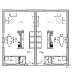 Grundriss MFH Doppelhaus Bauhaus 18 EG