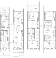 floor plan in restored four-story Lincoln Place Brooklyn Brownstone w/ garden studio rental redefines luxury townhome design Mehr Narrow House Plans, Modern House Plans, Studio Rental, Compact House, Brooklyn Brownstone, Apartment Plans, House Layouts, Architecture Plan, Plan Design