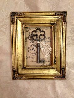 Framed Skeleton Key, Cast Iron Key, Gold Frame, French Wall Decor, Shabby Chic Frame, Cottage Decor