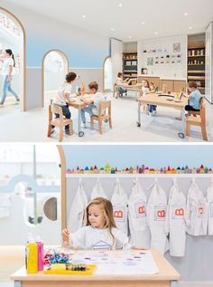 In this modern playroom, a soft blue ombre wall almost looks like the sky, while a peg board wall and cabinets are home to craft items.