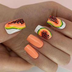 Fruit Nail Designs, Almond Nails Designs, Nail Art Designs, Really Cute Nails, Love Nails, Orange Nails, Purple Nails, Nail Manicure, Gel Nails