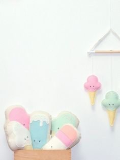 The Gathered Store — Ice Cream Softie - White Love Sewing, Baby Sewing, Deco Pastel, Diy Bebe, Modern Kids, Little Girl Rooms, Diy Pillows, Diy Toys, Kids Decor