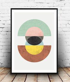 Abstract art Minimalist print Geometric print Mid by Wallzilla