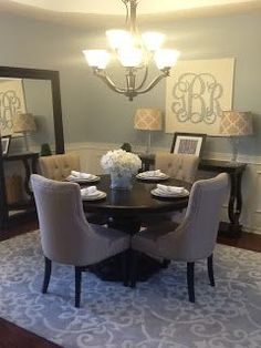 soft dining room; Home Tour Blue and Tan Dining Room