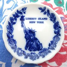 Vintage Flow Blue Butter Pat Liberty Island NY by MrFilthyRotten, $10.00