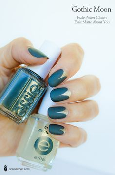 essie matte about you review, essie power clutch. I like this mani.