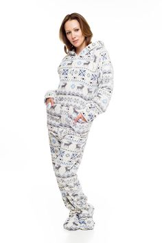 bc4a34b3a72f Take a look at the Red   White Snowflake Footie Pajamas - Adults on ...