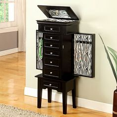 Perfect for Victoria's room!! Black With Zebra Jewelry Armoire